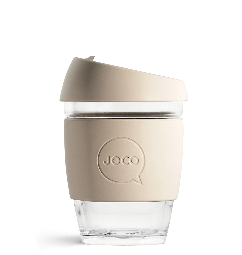JOCO Reusable Glass Coffee Cup Sandstone 236ml