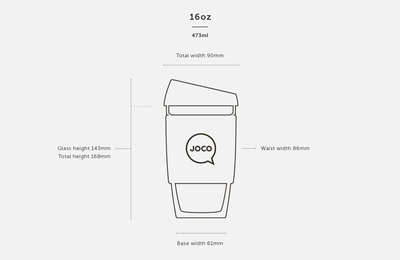 Dimensions of a 16oz JOCO Cup