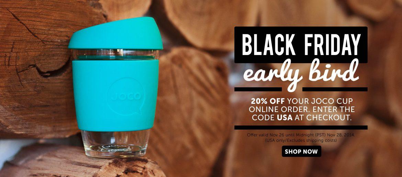 JOCO glass reusable cups Black Friday early bird offer 20% off