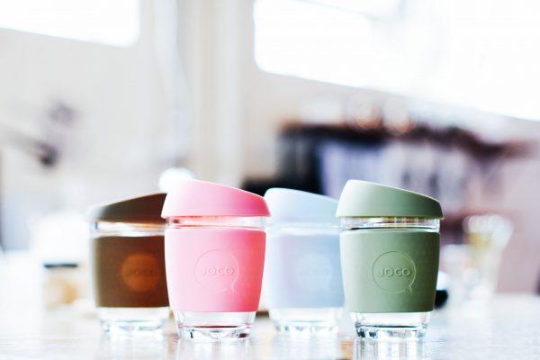 JOCO glass reusable cups vintage colourways 12oz