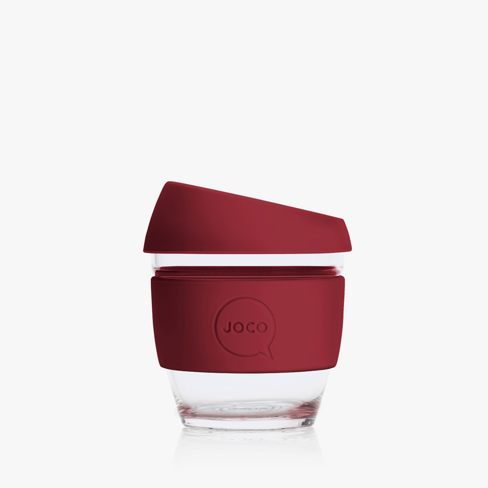 4oz glass coffee cup in ruby colour