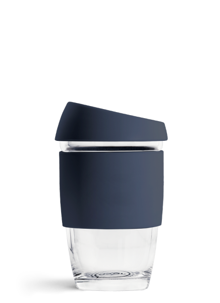 Navy JOCO 6oz Reusable Glass Coffee Cup