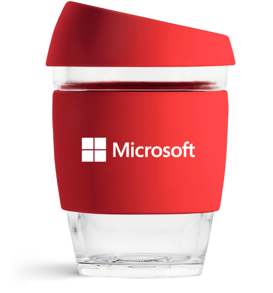 Red Microsoft Personalised Reusable Coffee Cup From JOCO