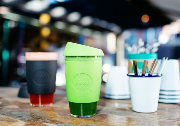 16oz JOCO Reusable Glass Mug Containing Green Juice