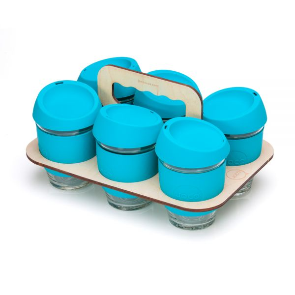 Six Eco-Friendly Blue Reusable JOCO Cups